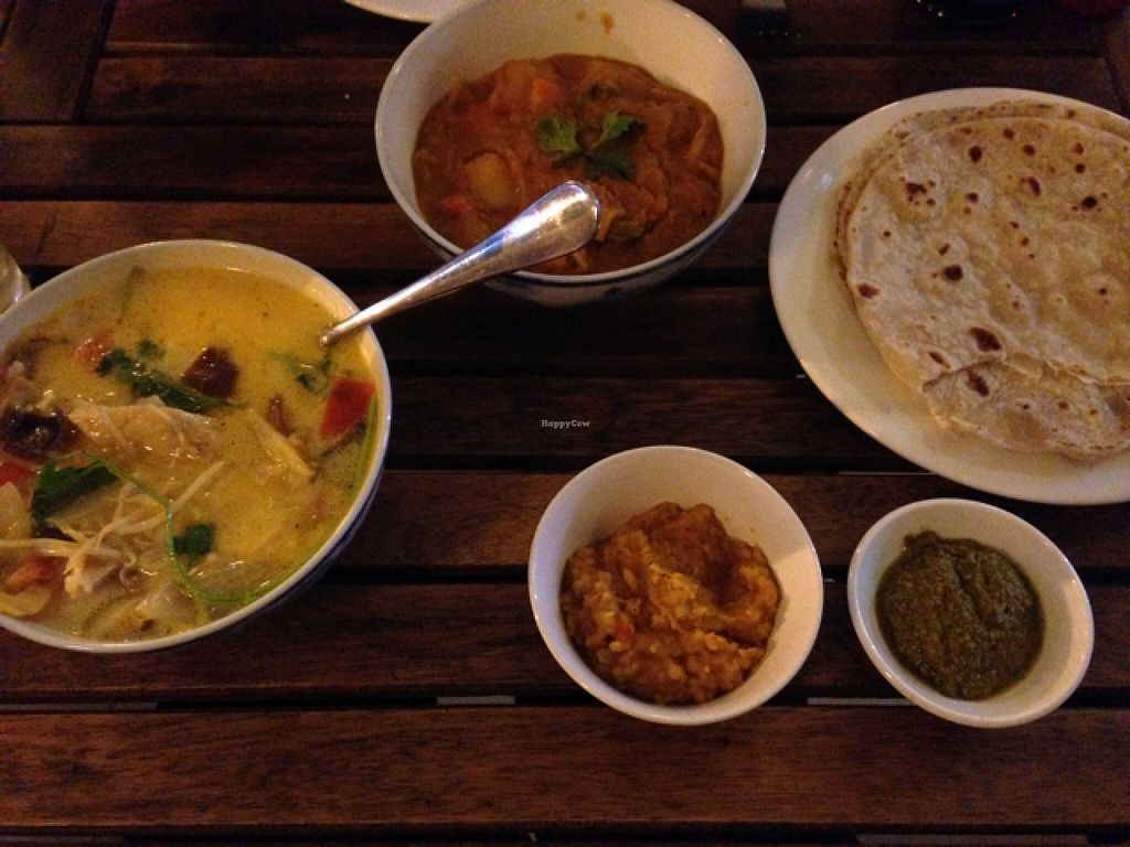 """Photo of Karma Waters Restaurant & Hostel  by <a href=""""/members/profile/susa-sann"""">susa-sann</a> <br/>vegetable curry and mushroom tomato soup <br/> March 29, 2016  - <a href='/contact/abuse/image/37573/141705'>Report</a>"""