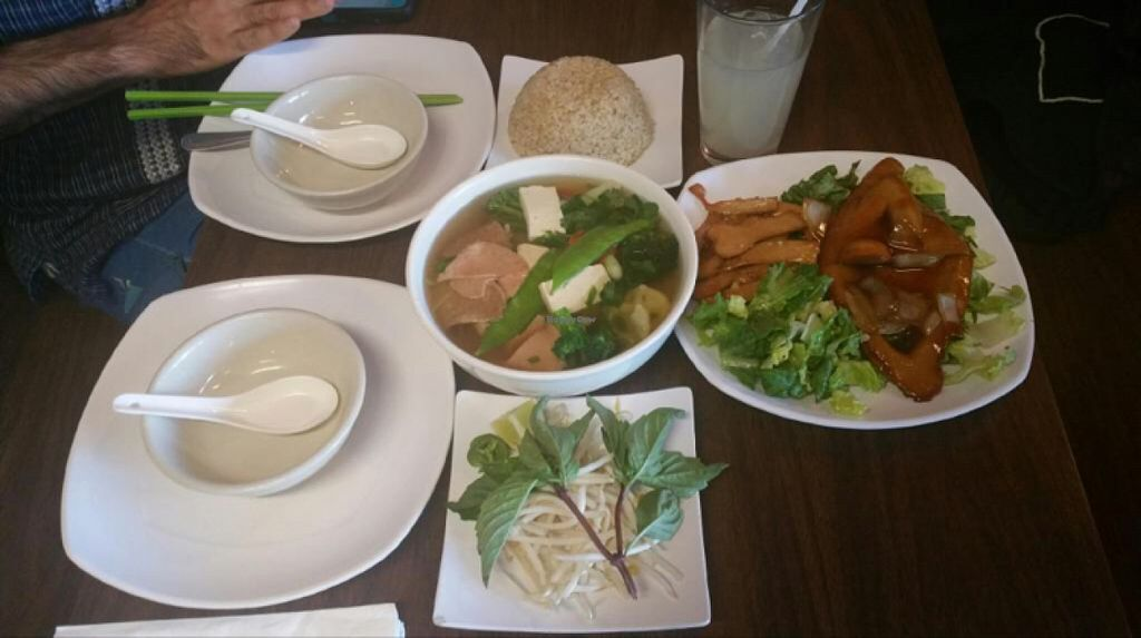 """Photo of The Happy Hooligans  by <a href=""""/members/profile/H"""">H</a> <br/>combo pho and mixed garlic chiken and teriyaki chicken  <br/> July 7, 2016  - <a href='/contact/abuse/image/3758/158200'>Report</a>"""