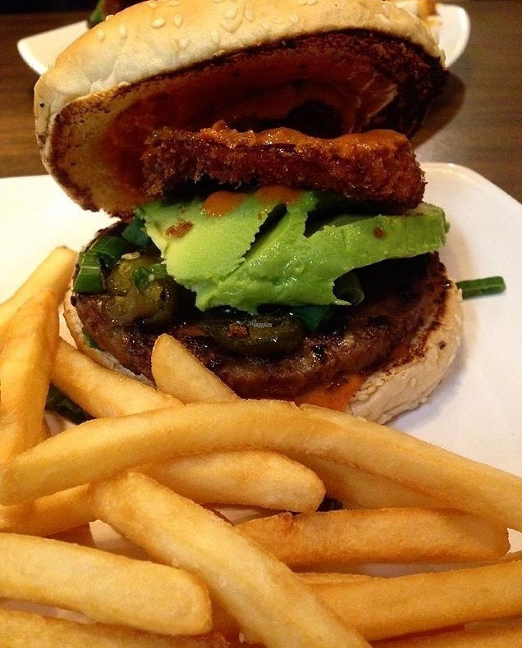 """Photo of The Happy Hooligans  by <a href=""""/members/profile/Veganlove408"""">Veganlove408</a> <br/>Red Rooster (spicy burger) with fries  <br/> February 13, 2017  - <a href='/contact/abuse/image/3758/226336'>Report</a>"""