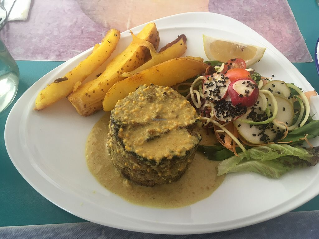 """Photo of Chirimoya  by <a href=""""/members/profile/JoelCitulski"""">JoelCitulski</a> <br/>Adzuki bean terrine with salad and chips <br/> January 7, 2018  - <a href='/contact/abuse/image/37591/344009'>Report</a>"""