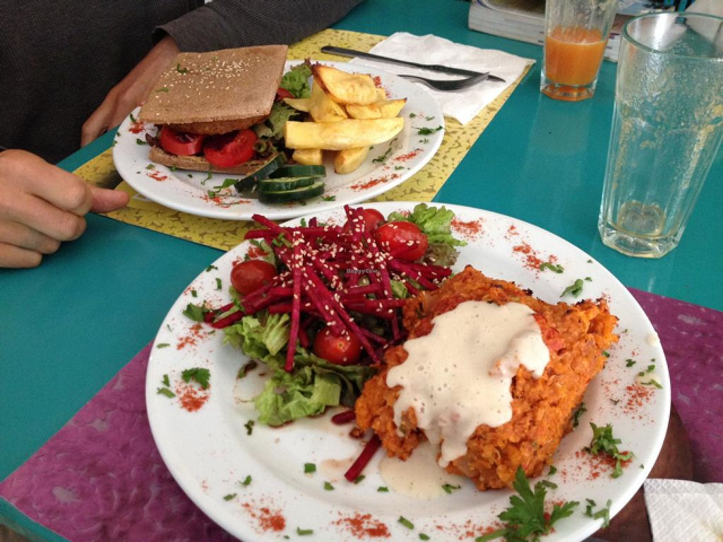 """Photo of Chirimoya  by <a href=""""/members/profile/Pearlpeachy"""">Pearlpeachy</a> <br/>sweet potato 'meatloaf' and veggie burger  <br/> April 11, 2015  - <a href='/contact/abuse/image/37591/98635'>Report</a>"""