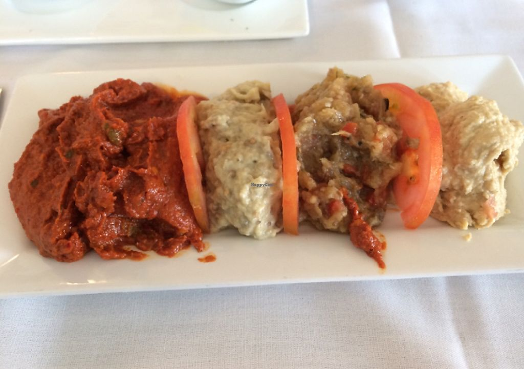 """Photo of Istanbul Restaurant  by <a href=""""/members/profile/Missjez"""">Missjez</a> <br/>Cold appetizer plate. I asked to substitute Muamarra for Haydari and they were very nice about it.  <br/> July 27, 2016  - <a href='/contact/abuse/image/37592/232782'>Report</a>"""