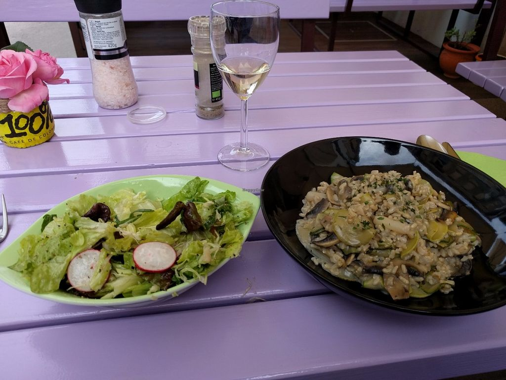 """Photo of Artha  by <a href=""""/members/profile/dougdo"""">dougdo</a> <br/>Vegan mushroom and asparagus risotto, salad and wine. All delicious and very reasonably priced. The risotto was the best I've ever had even without all the cream and cheese in a usual recipe.  <br/> June 4, 2016  - <a href='/contact/abuse/image/37653/152315'>Report</a>"""