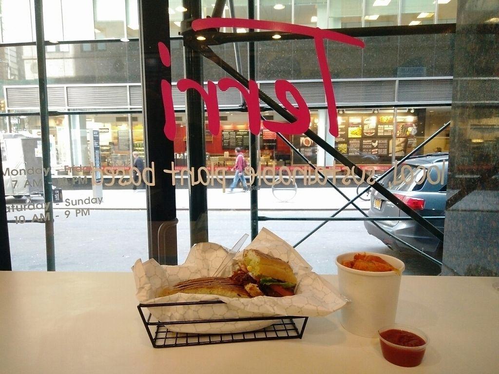 """Photo of Terri - Financial District  by <a href=""""/members/profile/martinicontomate"""">martinicontomate</a> <br/>""""chicken"""" melt sandwich and roasted sweet potatoes <br/> April 22, 2017  - <a href='/contact/abuse/image/37685/251087'>Report</a>"""