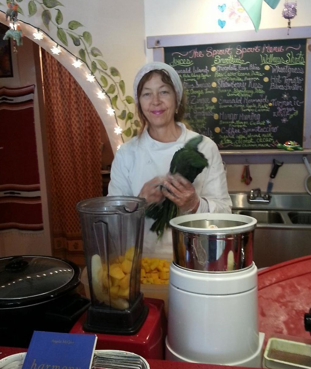 """Photo of The Sanibel Sprout  by <a href=""""/members/profile/SkipStein"""">SkipStein</a> <br/>Niki, our accommodating hostess making a wonderful and FRESH smoothie with lots of kale! <br/> March 6, 2014  - <a href='/contact/abuse/image/37754/197499'>Report</a>"""