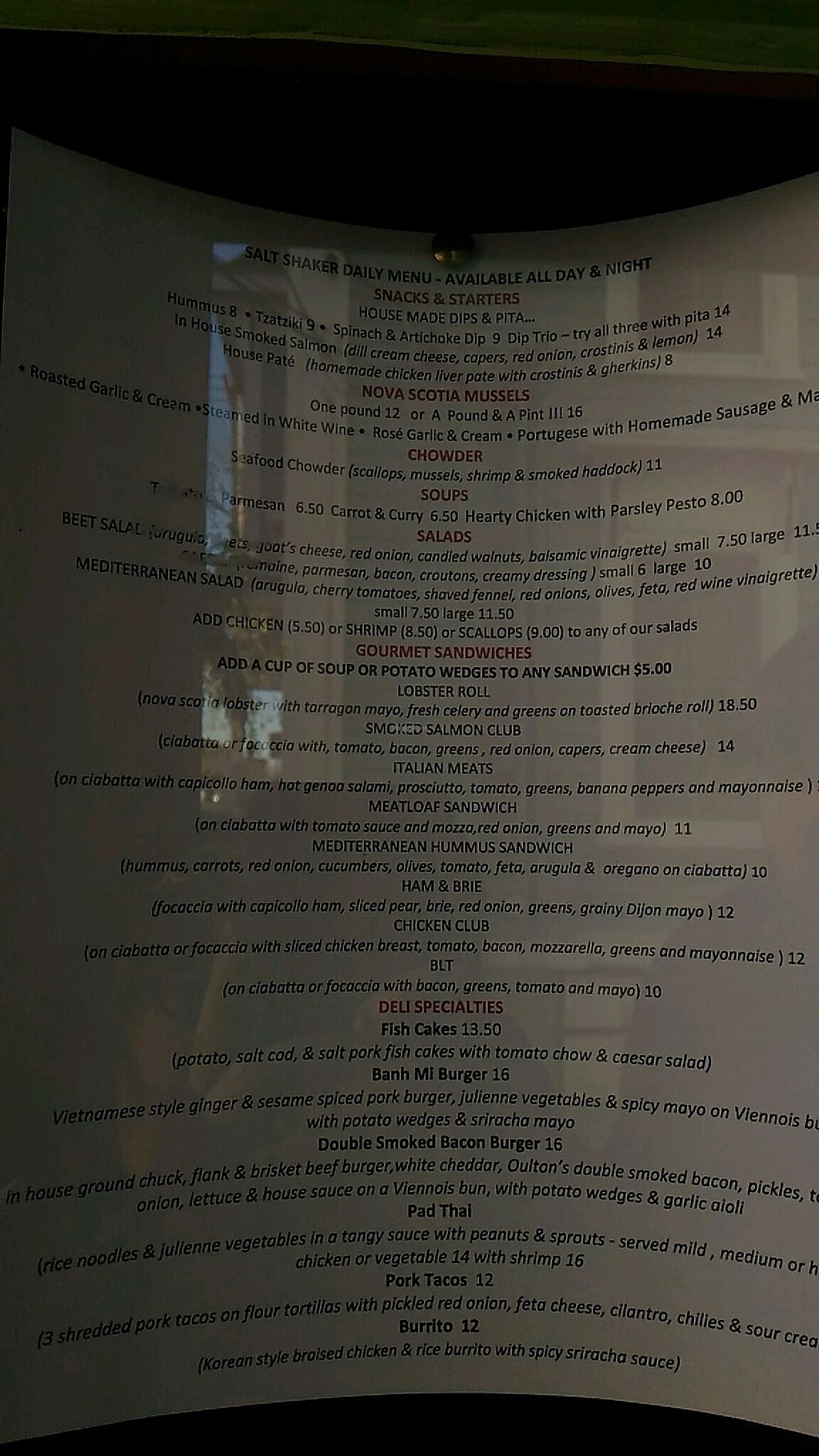 """Photo of Salt Shaker Deli  by <a href=""""/members/profile/QuothTheRaven"""">QuothTheRaven</a> <br/>menu <br/> November 12, 2017  - <a href='/contact/abuse/image/37758/324708'>Report</a>"""