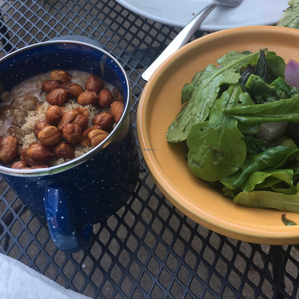 """Photo of Kitchen Table  by <a href=""""/members/profile/billierod"""">billierod</a> <br/>Vegan Hot Cereal and Salad  <br/> June 6, 2017  - <a href='/contact/abuse/image/37763/266357'>Report</a>"""