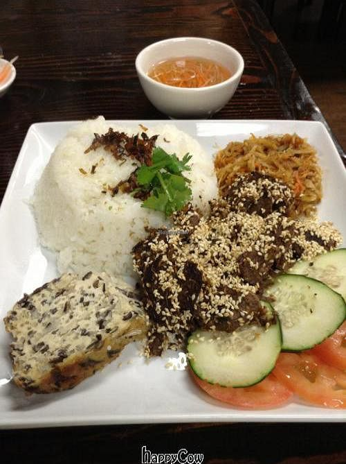"Photo of An Lac Duyen  by <a href=""/members/profile/spiceislandvegan"">spiceislandvegan</a> <br/>Broken rice with shredded vermicelli, steamed tofu cake, and faux beef (althouth the menu said steamed egg it is actually a tofu cake) <br/> March 30, 2013  - <a href='/contact/abuse/image/37766/46280'>Report</a>"