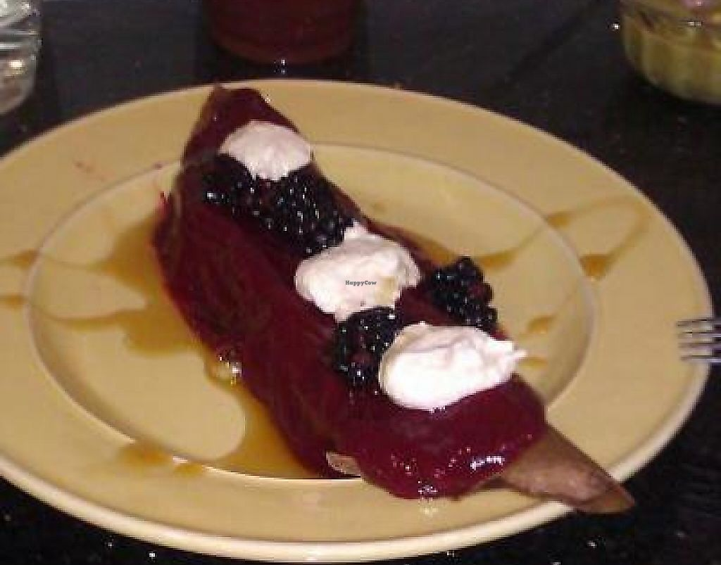 """Photo of Balance  by <a href=""""/members/profile/mtsaintellen"""">mtsaintellen</a> <br/>Raw crepe. Chocolate cashew cheese cream filling, vanilla cashew cheese with fresh berries on top. Sauces are blended berries, and raw agave nectar <br/> March 30, 2013  - <a href='/contact/abuse/image/37775/230452'>Report</a>"""