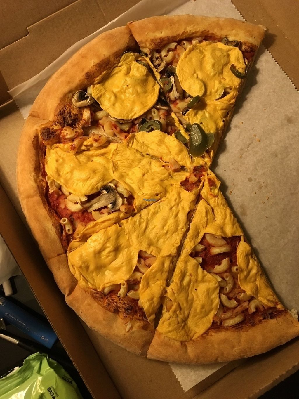 """Photo of REMOVED: Ta-Ta's Pizza  by <a href=""""/members/profile/theveganmonster"""">theveganmonster</a> <br/>Cheese as well as macaroni rather than macaroni and cheese <br/> April 17, 2017  - <a href='/contact/abuse/image/37806/249197'>Report</a>"""