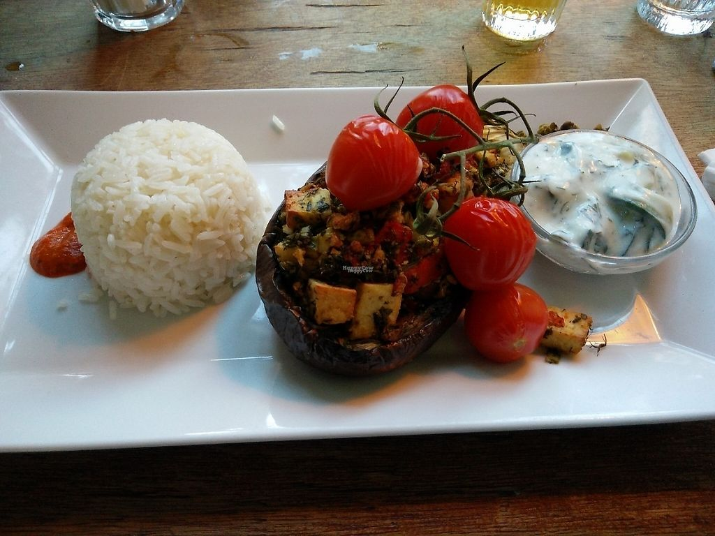 """Photo of Studio K  by <a href=""""/members/profile/tirza"""">tirza</a> <br/>amazing dish: aubergine filled with tofu, with basmati rice and vegan tzatziki on the side <br/> February 3, 2017  - <a href='/contact/abuse/image/37828/221599'>Report</a>"""