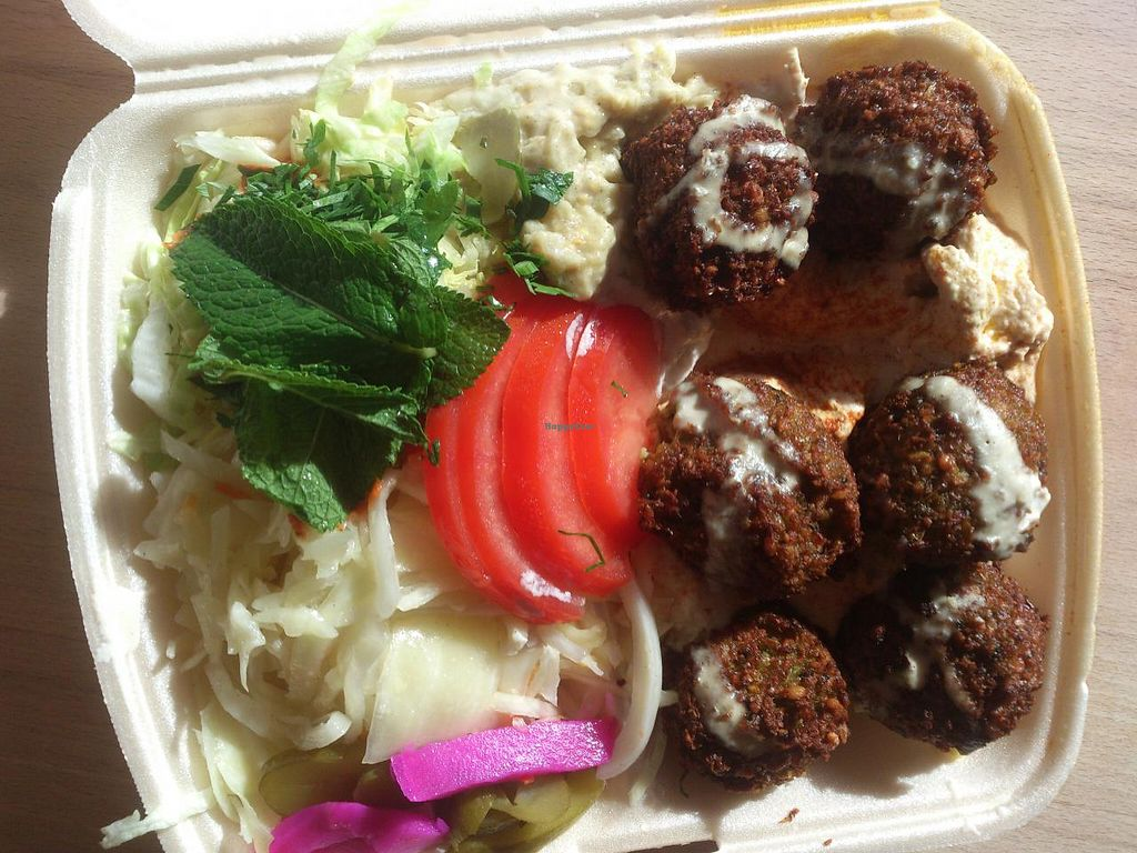 """Photo of Aroma  by <a href=""""/members/profile/Tank242"""">Tank242</a> <br/>Falafel hoummus plate <br/> June 22, 2015  - <a href='/contact/abuse/image/37859/106879'>Report</a>"""