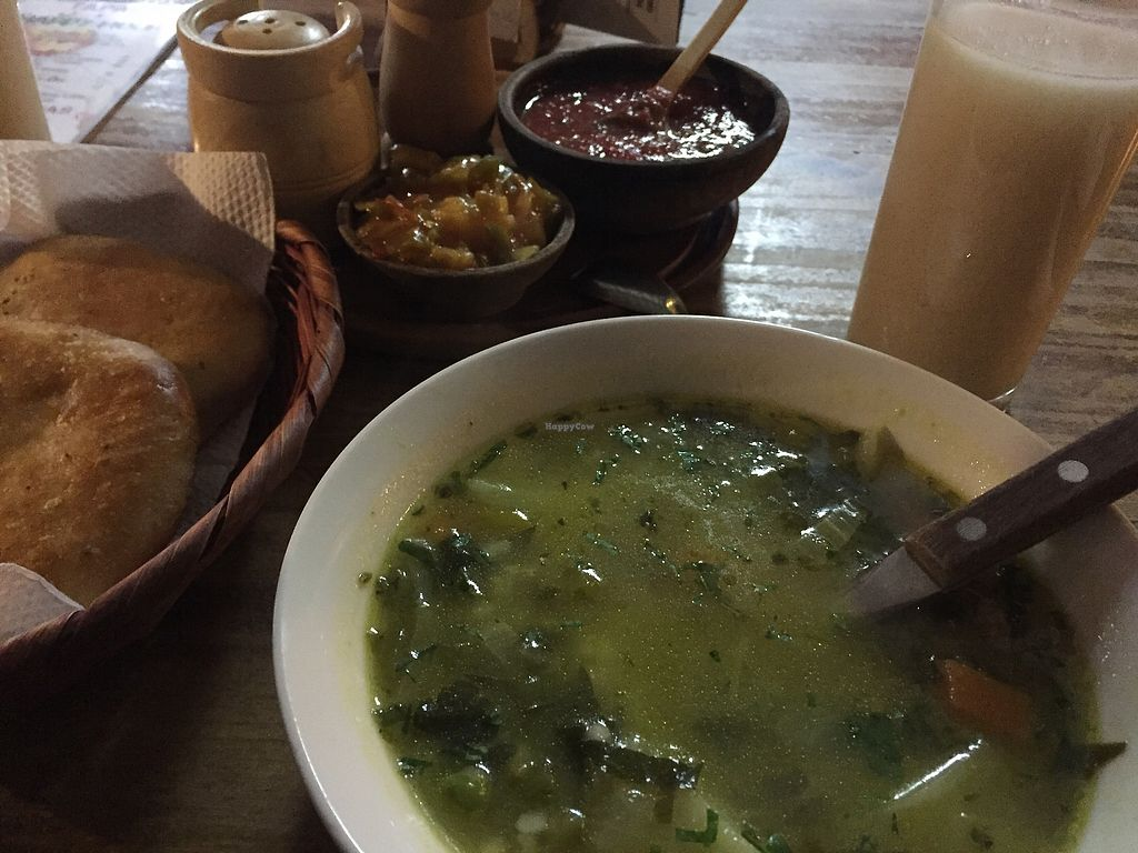 """Photo of Condor Cafe  by <a href=""""/members/profile/Dianebg"""">Dianebg</a> <br/>Veggie soup, warm bread, sesame drink, and condiments  <br/> October 3, 2017  - <a href='/contact/abuse/image/37900/311522'>Report</a>"""
