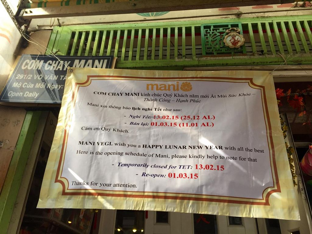 """Photo of Mani  by <a href=""""/members/profile/NTBT"""">NTBT</a> <br/>They are closed for TET holiday till 1st if March <br/> February 12, 2015  - <a href='/contact/abuse/image/37908/92908'>Report</a>"""