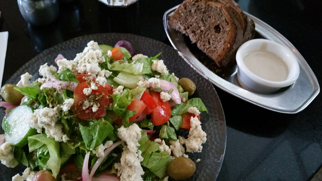 """Photo of Meshek Barzilay  by <a href=""""/members/profile/Brok%20O.%20Lee"""">Brok O. Lee</a> <br/>Vegan Greek salad with vegan nut feta cheese and pickled onions <br/> August 8, 2015  - <a href='/contact/abuse/image/37930/112673'>Report</a>"""