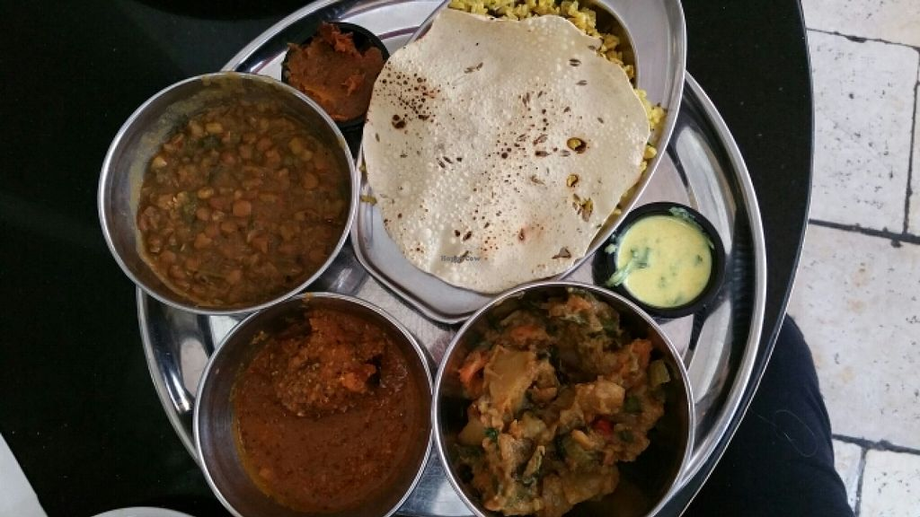 """Photo of Meshek Barzilay  by <a href=""""/members/profile/Brok%20O.%20Lee"""">Brok O. Lee</a> <br/>Indian vegan thali plate <br/> December 13, 2015  - <a href='/contact/abuse/image/37930/128149'>Report</a>"""