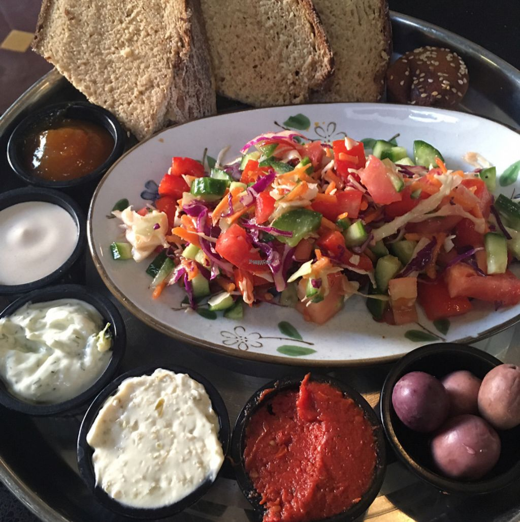 """Photo of Meshek Barzilay  by <a href=""""/members/profile/hokusai77"""">hokusai77</a> <br/>Homemade bread, sauces, salad and muffin <br/> November 25, 2016  - <a href='/contact/abuse/image/37930/194098'>Report</a>"""