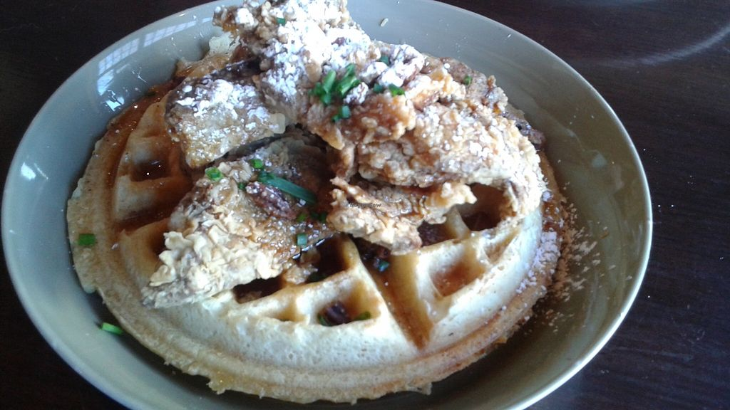"""Photo of The Grange  by <a href=""""/members/profile/veganri"""">veganri</a> <br/>Vegan Chicken Fried Seitan and Waffles  <br/> March 25, 2016  - <a href='/contact/abuse/image/37950/141318'>Report</a>"""