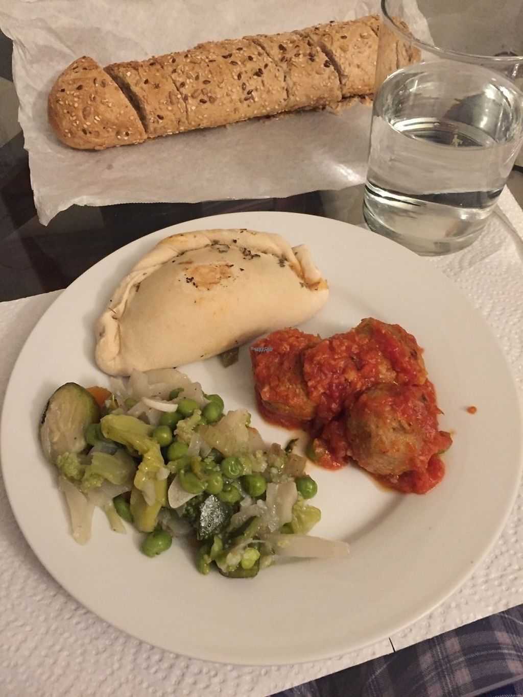 """Photo of Vegetart Cuina Vegana  by <a href=""""/members/profile/Serenella"""">Serenella</a> <br/>empanadas, soy meatballs in gravy and vegetables <br/> April 18, 2017  - <a href='/contact/abuse/image/37959/249594'>Report</a>"""