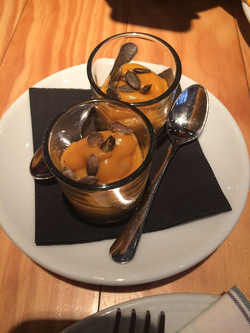 "Photo of Rasoterra Bistrot Vegetaria  by <a href=""/members/profile/sabrinajh"">sabrinajh</a> <br/>Apéritif included with the meal - sweet potato pumpkin purée.  <br/> December 31, 2017  - <a href='/contact/abuse/image/37964/341429'>Report</a>"