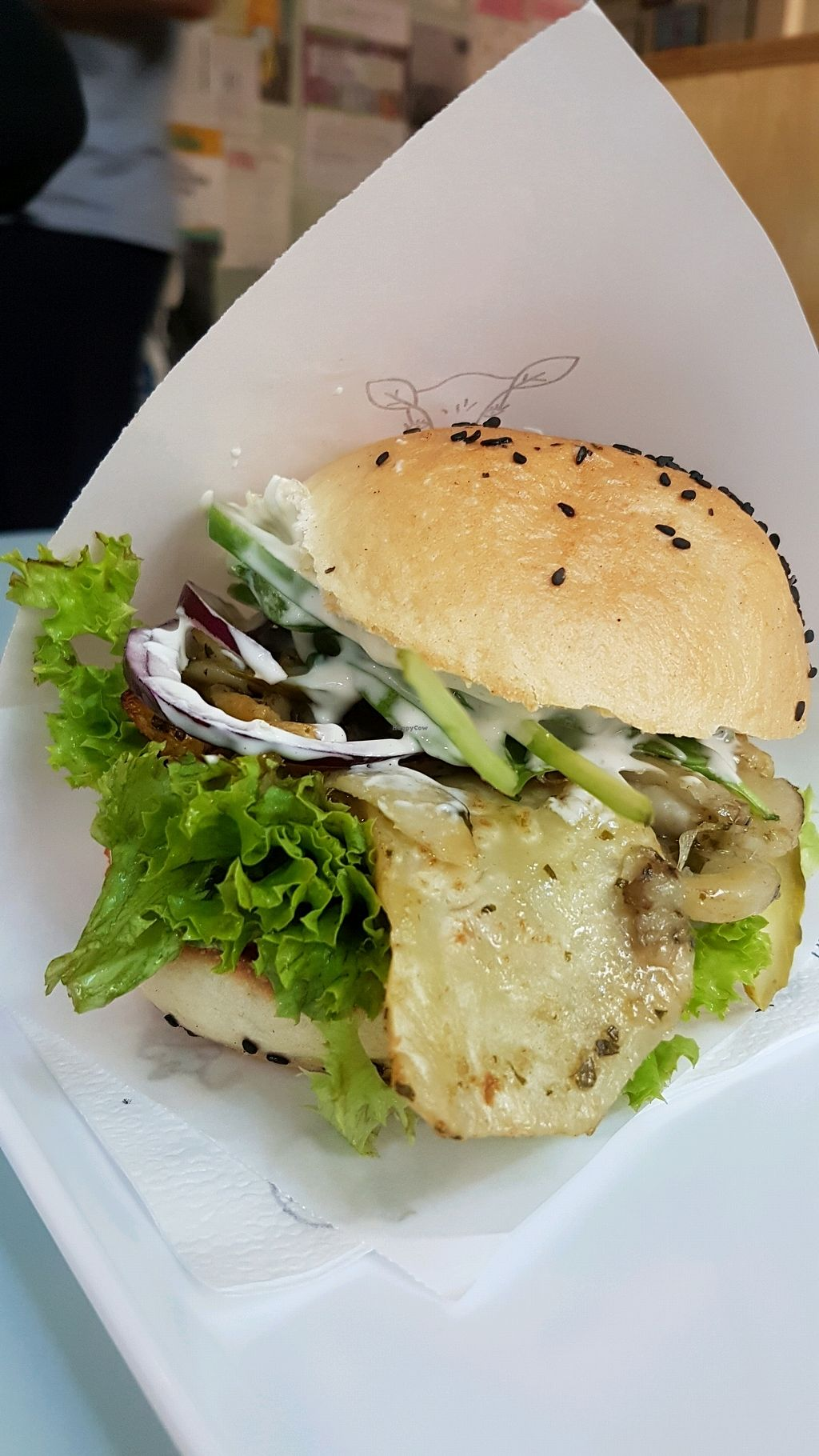 "Photo of Krowarzywa - Hoza  by <a href=""/members/profile/Amalie"">Amalie</a> <br/>roasted vegetable burger.. Delicious!!!!! <br/> September 17, 2017  - <a href='/contact/abuse/image/37990/305398'>Report</a>"