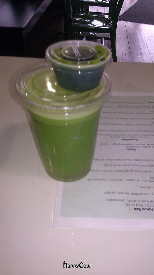 """Photo of CLOSED: Brooklyn Natural Cafe  by <a href=""""/members/profile/islandlion"""">islandlion</a> <br/>Organic Big Green Juice & Wheat Grass Shot <br/> June 2, 2013  - <a href='/contact/abuse/image/38006/49056'>Report</a>"""