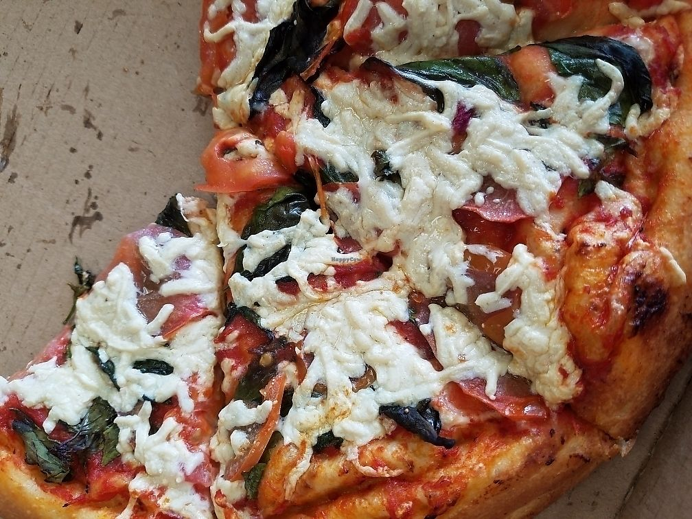 """Photo of Vegan Pizza  by <a href=""""/members/profile/RedheadQuarters"""">RedheadQuarters</a> <br/>margherita, extra crispy  <br/> June 8, 2017  - <a href='/contact/abuse/image/38016/267119'>Report</a>"""