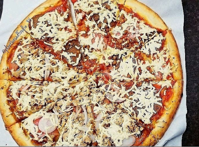 """Photo of Vegan Pizza  by <a href=""""/members/profile/anne420"""">anne420</a> <br/>Large, half meat lover and BBQ chicken pizza <br/> December 9, 2017  - <a href='/contact/abuse/image/38016/333664'>Report</a>"""