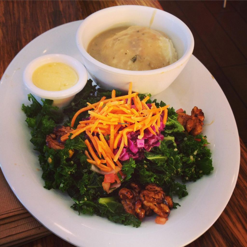 """Photo of Veggie Grill  by <a href=""""/members/profile/Tigra220"""">Tigra220</a> <br/>1/2 All Hail Kale Salad & Mashed Cauli-Potatoes  <br/> July 20, 2015  - <a href='/contact/abuse/image/38058/110232'>Report</a>"""