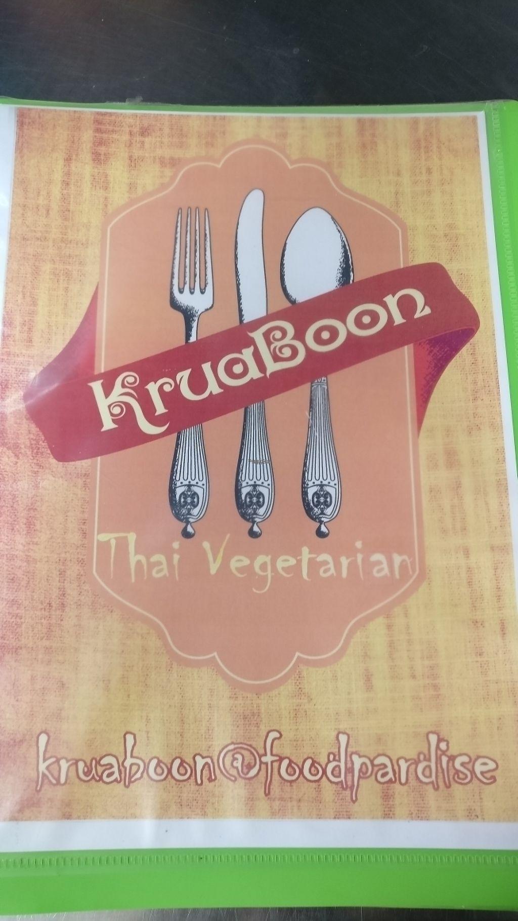 "Photo of Kran Boom Modern Thai  by <a href=""/members/profile/davidredstone"">davidredstone</a> <br/>Krua Boon menu cover  <br/> March 19, 2017  - <a href='/contact/abuse/image/38060/238233'>Report</a>"