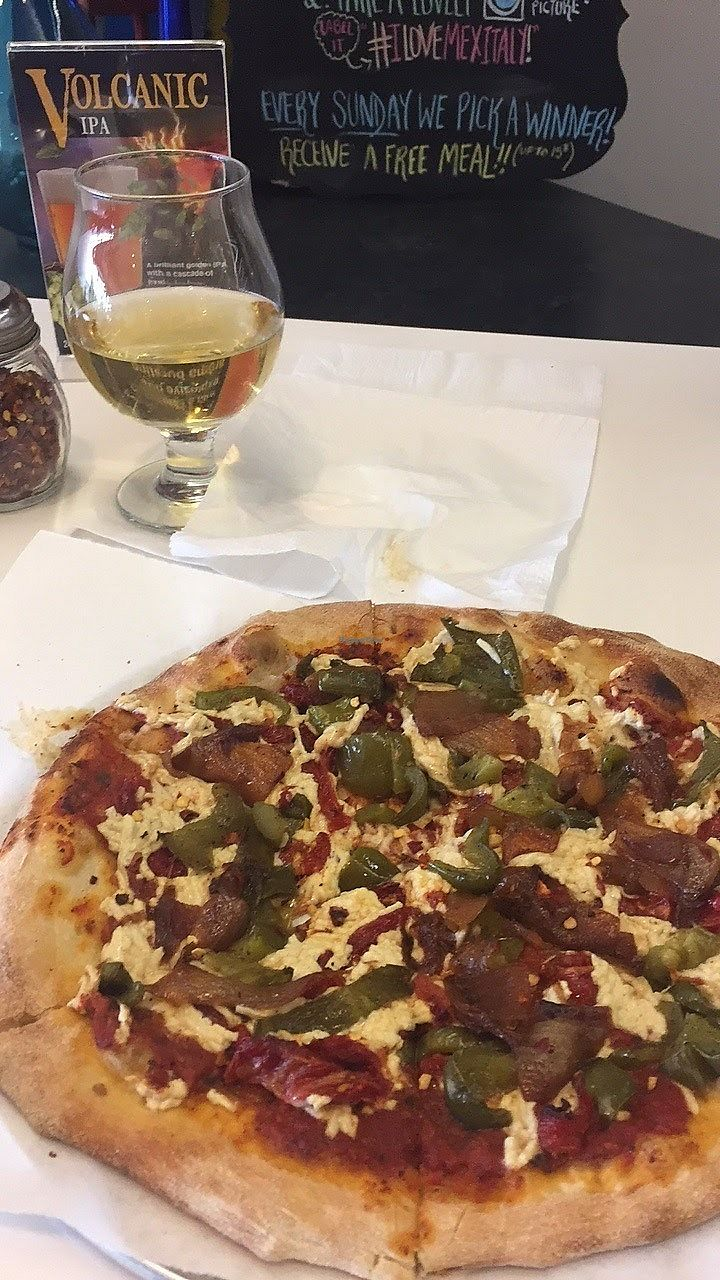 """Photo of Mexitaly  by <a href=""""/members/profile/Jamie9705"""">Jamie9705</a> <br/>Vegan pizza and cider! <br/> September 14, 2017  - <a href='/contact/abuse/image/38197/304278'>Report</a>"""