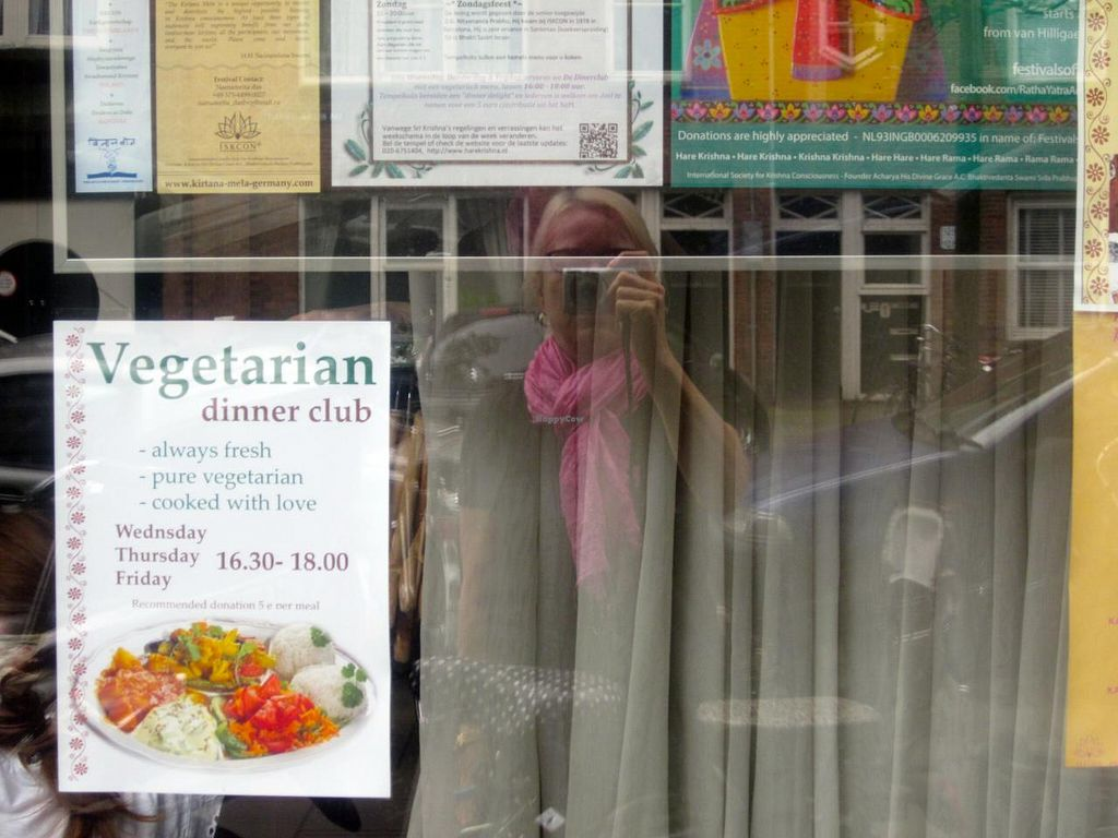 """Photo of CLOSED: Vegetarian Dinner Club  by <a href=""""/members/profile/annette"""">annette</a> <br/>Advertisement for the  Dinner Club in front window of building <br/> August 22, 2014  - <a href='/contact/abuse/image/38221/77837'>Report</a>"""