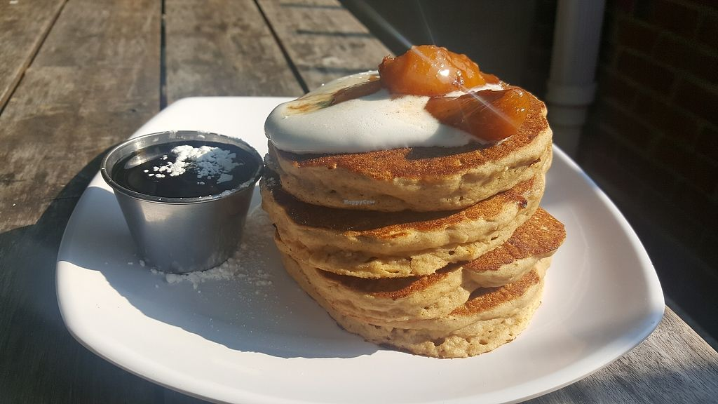 "Photo of The Angry Baker - Olde Towne East  by <a href=""/members/profile/Tots"">Tots</a> <br/>Peaches and cream vegan pancakes  <br/> August 16, 2017  - <a href='/contact/abuse/image/38318/293264'>Report</a>"