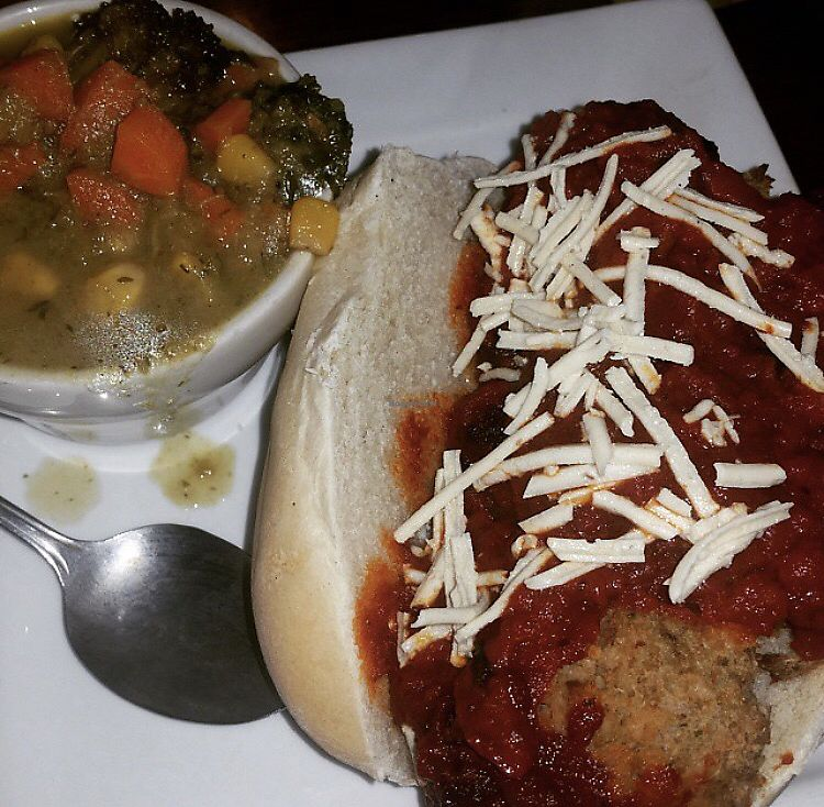 "Photo of The Angry Baker - Olde Towne East  by <a href=""/members/profile/Tabgreenvegan"">Tabgreenvegan</a> <br/>Vegan Eggplant Meatball Sub <br/> March 29, 2018  - <a href='/contact/abuse/image/38318/377755'>Report</a>"