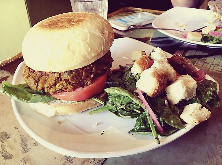"Photo of The Angry Baker - Olde Towne East  by <a href=""/members/profile/Tabgreenvegan"">Tabgreenvegan</a> <br/>Vegan Curry Burger <br/> March 29, 2018  - <a href='/contact/abuse/image/38318/377759'>Report</a>"
