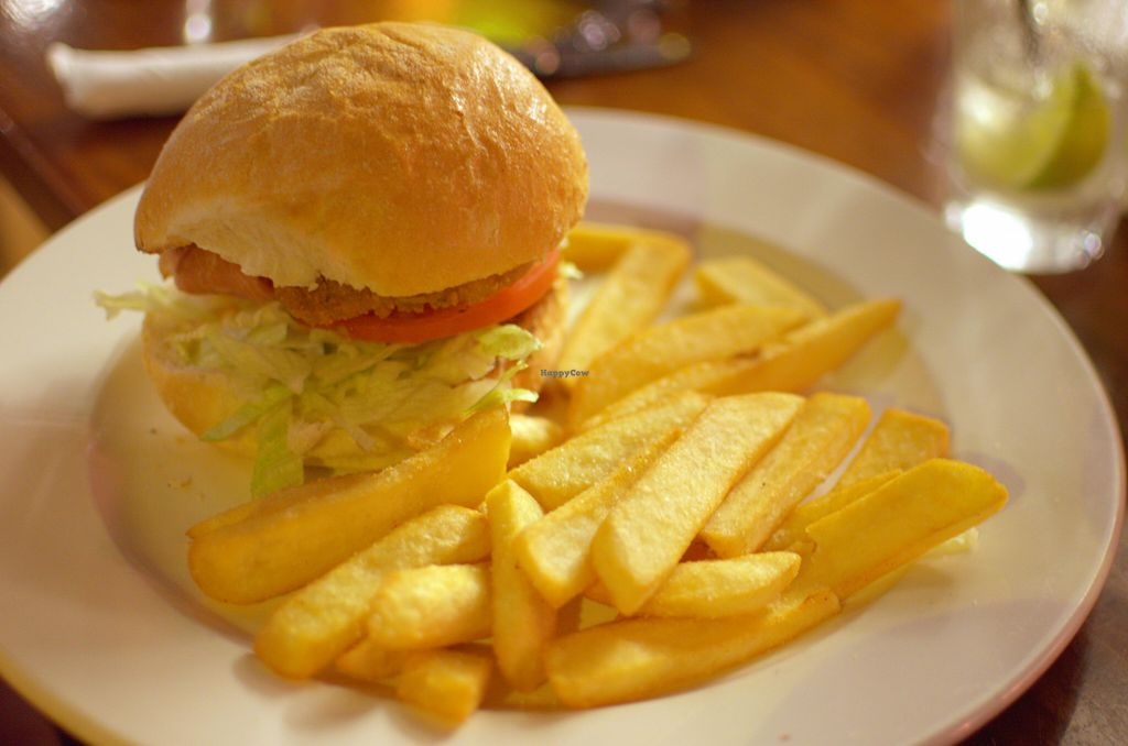 """Photo of Cornish Arms  by <a href=""""/members/profile/chocoholicPhilosophe"""">chocoholicPhilosophe</a> <br/>Vegan chicken burger <br/> August 15, 2015  - <a href='/contact/abuse/image/38323/113734'>Report</a>"""