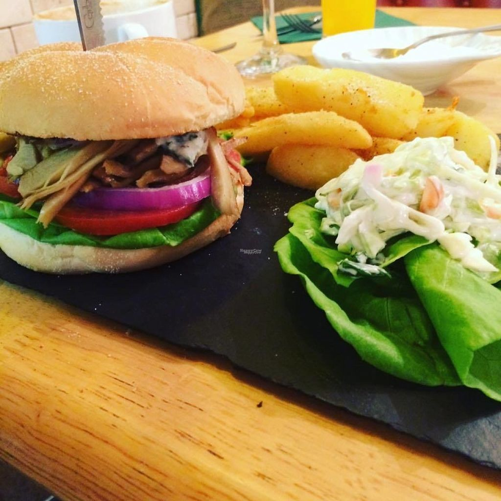 """Photo of Samphire Brasserie  by <a href=""""/members/profile/jazzandcrumpets"""">jazzandcrumpets</a> <br/>Dirty stop out burger with hot sauce and tzatziki with chips and coleslaw  <br/> August 4, 2016  - <a href='/contact/abuse/image/38330/165550'>Report</a>"""