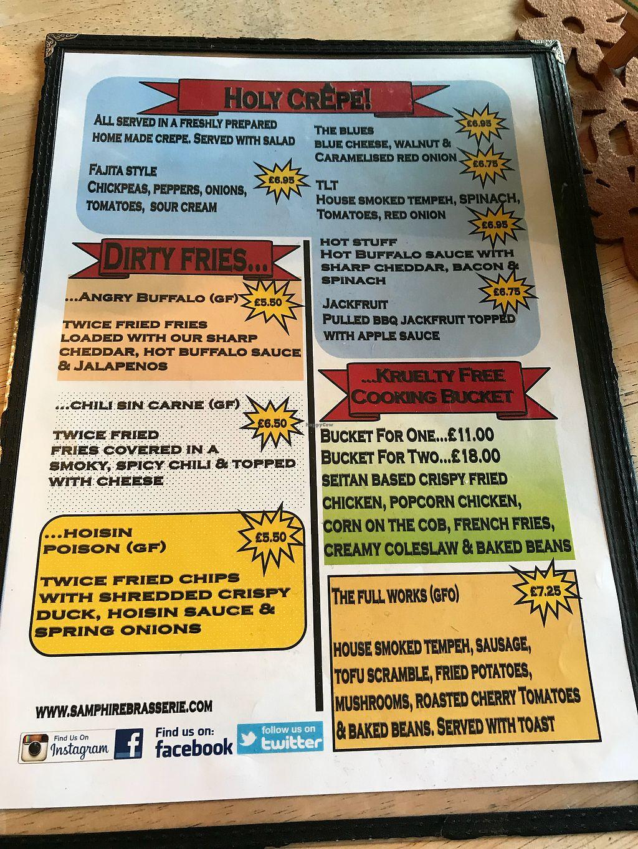 "Photo of Samphire Brasserie  by <a href=""/members/profile/Lizardjones"">Lizardjones</a> <br/>Lunch menu 1 <br/> December 29, 2017  - <a href='/contact/abuse/image/38330/340554'>Report</a>"