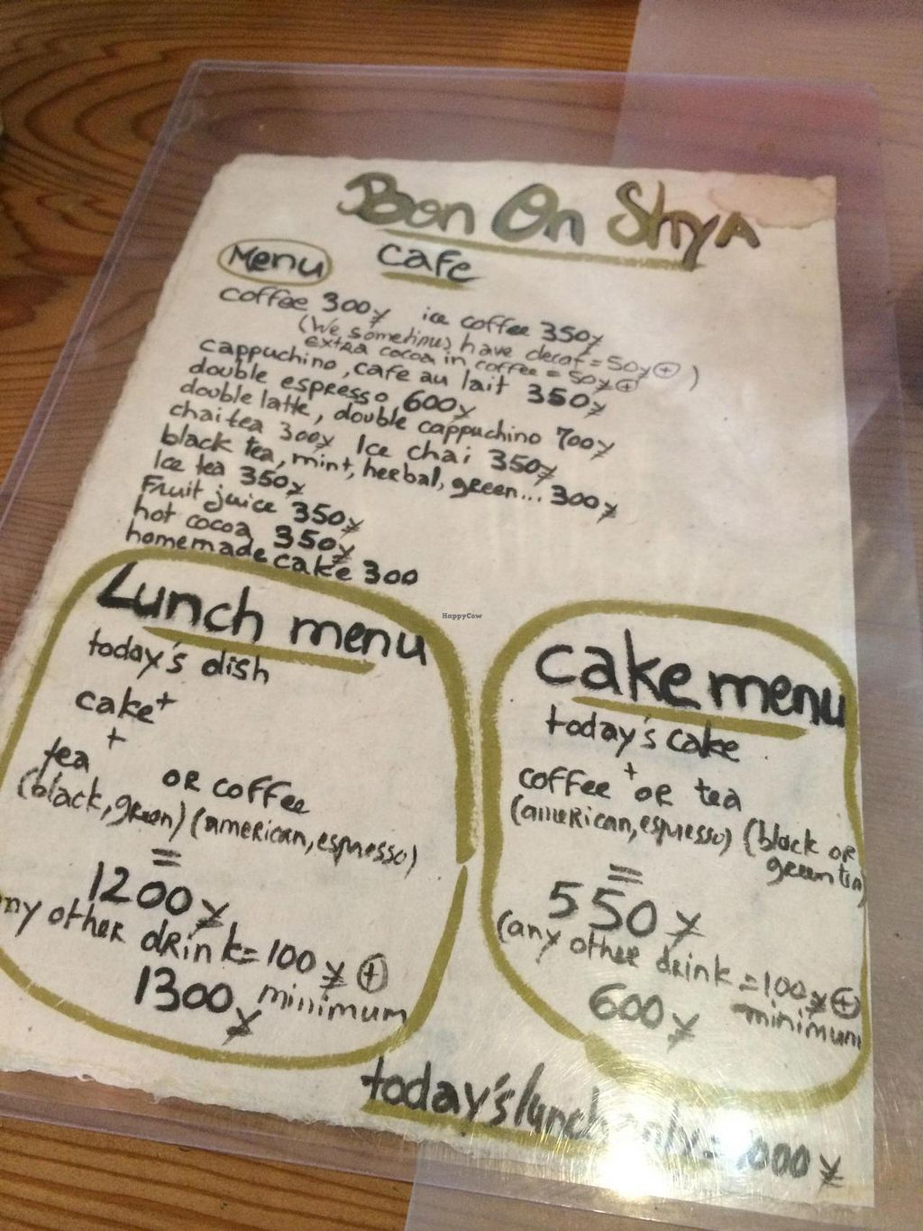 "Photo of Bon On Shya International Cafe  by <a href=""/members/profile/Meggie%20and%20Ben"">Meggie and Ben</a> <br/>Menu <br/> April 24, 2014  - <a href='/contact/abuse/image/38348/68513'>Report</a>"