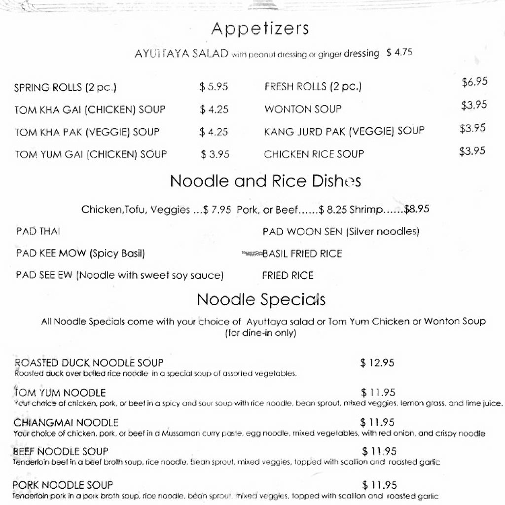 "Photo of Ayuttaya Thai Cuisine  by <a href=""/members/profile/KWdaddio"">KWdaddio</a> <br/>lunch menu <br/> January 2, 2017  - <a href='/contact/abuse/image/38392/207304'>Report</a>"