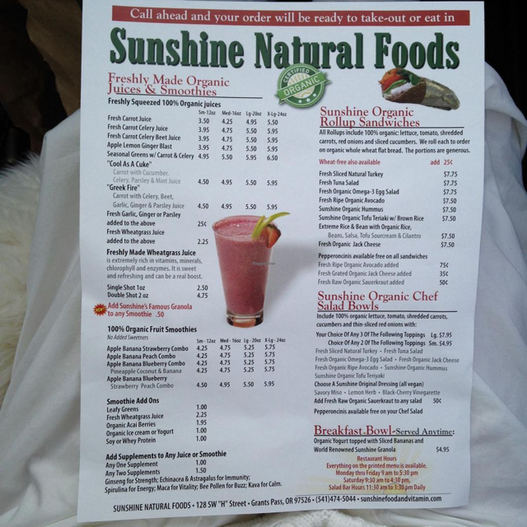 "Photo of Sunshine Natural Foods Cafe  by <a href=""/members/profile/Cedarforests"">Cedarforests</a> <br/>Awesome Menu! <br/> February 8, 2014  - <a href='/contact/abuse/image/38420/63934'>Report</a>"