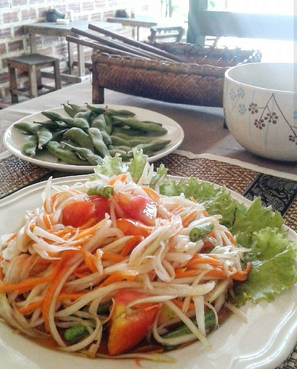 """Photo of Cafe Chai Dee  by <a href=""""/members/profile/VeganCrush"""">VeganCrush</a> <br/>Edamame and Papaya Salad <br/> December 16, 2017  - <a href='/contact/abuse/image/38424/335997'>Report</a>"""