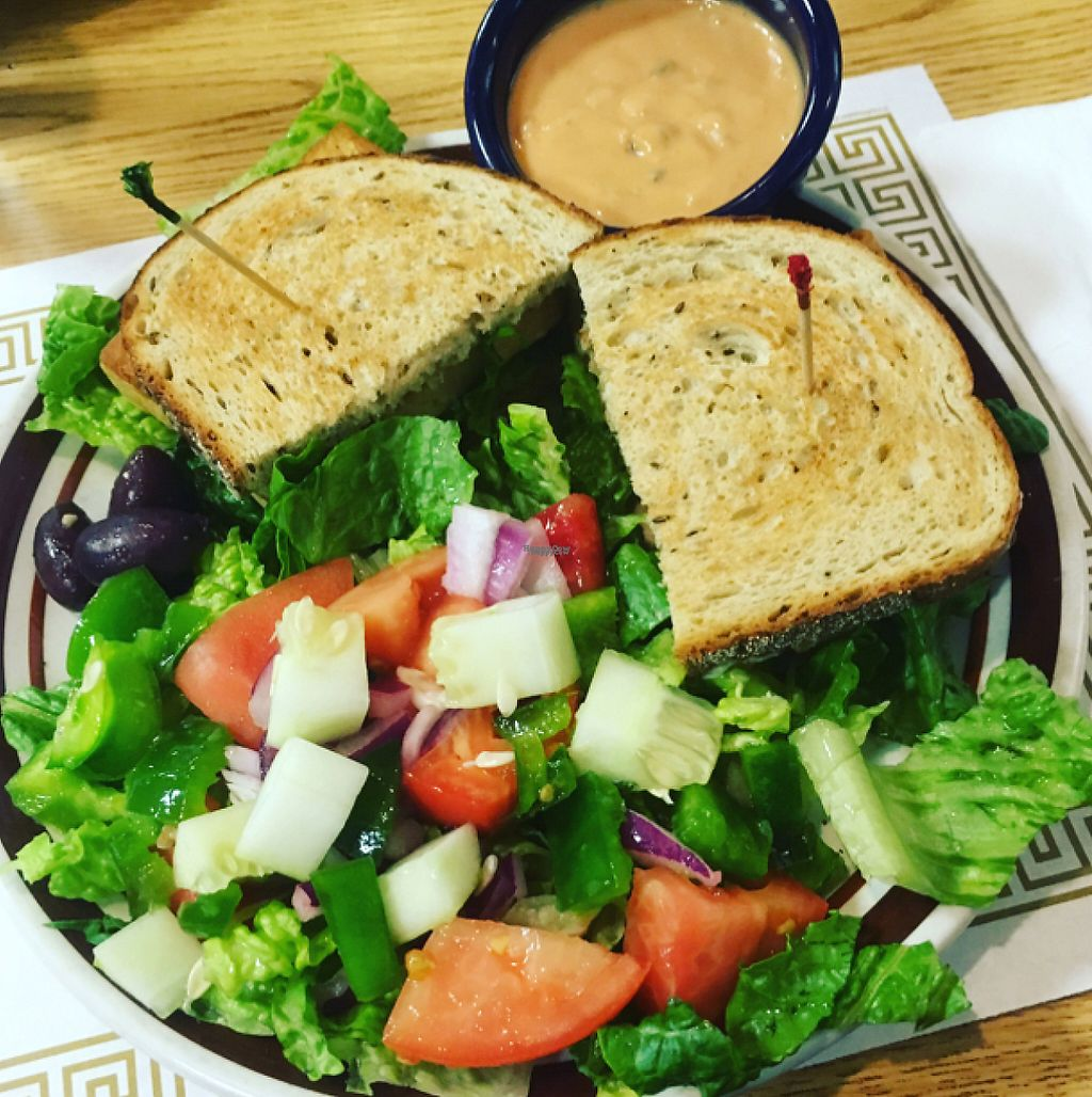 """Photo of Amy's Place  by <a href=""""/members/profile/Mariarosekicks"""">Mariarosekicks</a> <br/>Vegan club and vegan thousand island dressing with Greek salad  <br/> August 6, 2016  - <a href='/contact/abuse/image/3845/209811'>Report</a>"""