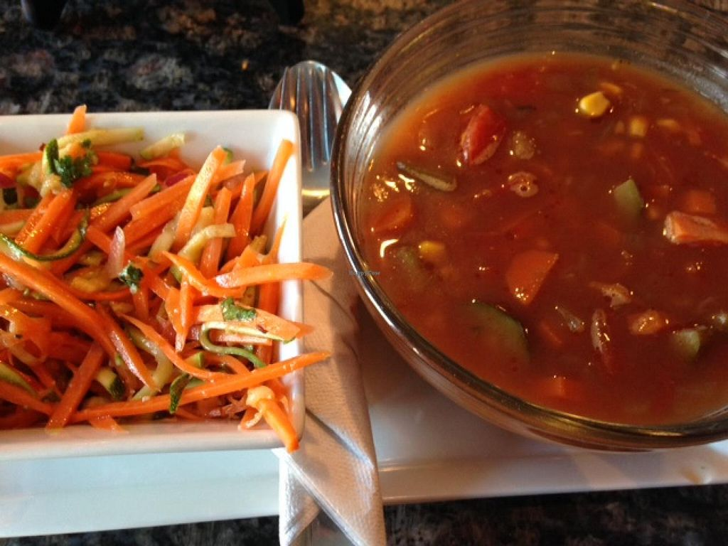 """Photo of House of Steep  by <a href=""""/members/profile/cookiem"""">cookiem</a> <br/>Raw Asian Salad and Vegan House Soup (of the day) <br/> February 17, 2014  - <a href='/contact/abuse/image/38460/64458'>Report</a>"""
