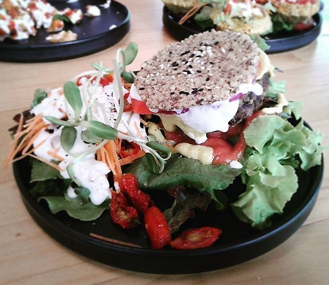 """Photo of Rasayana Raw Food Cafe  by <a href=""""/members/profile/RunEatWorld"""">RunEatWorld</a> <br/>Raw burger <br/> June 13, 2017  - <a href='/contact/abuse/image/3847/268625'>Report</a>"""