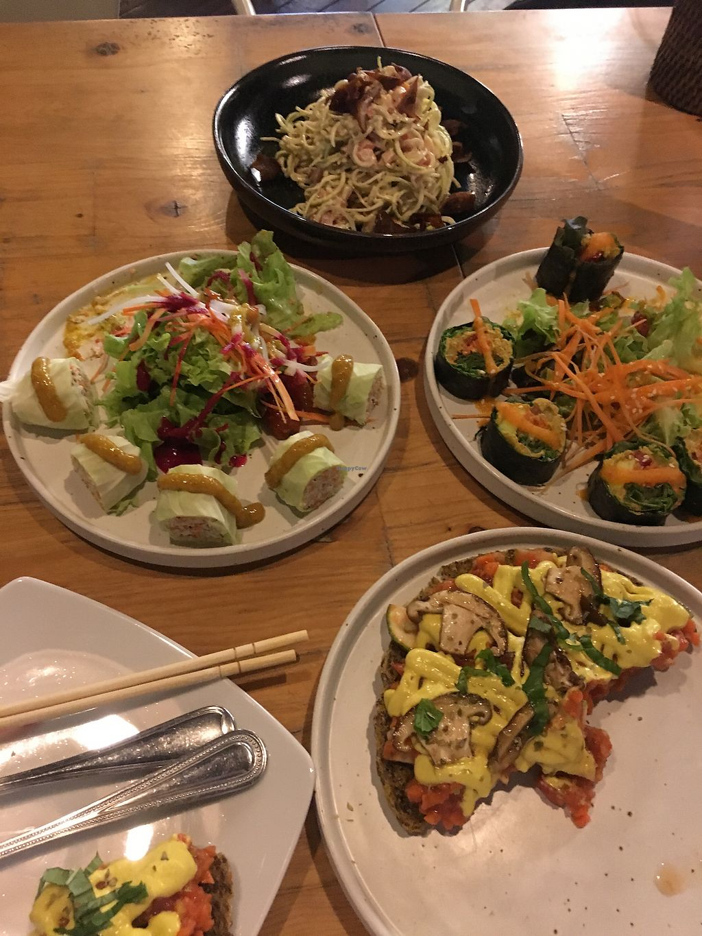"""Photo of Rasayana Raw Food Cafe  by <a href=""""/members/profile/LauraZr"""">LauraZr</a> <br/>Spring rolls, sushi, mushroom pizza & zoodles <br/> October 5, 2017  - <a href='/contact/abuse/image/3847/312027'>Report</a>"""