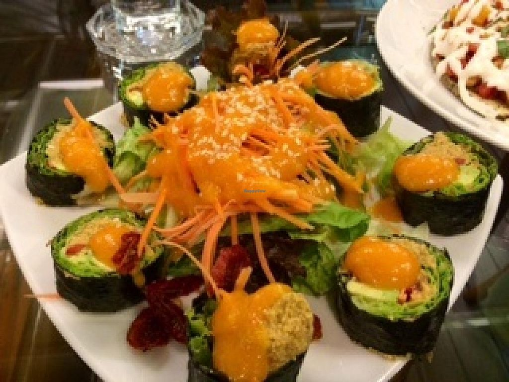 """Photo of Rasayana Raw Food Cafe  by <a href=""""/members/profile/Plantpower"""">Plantpower</a> <br/>Vegan sushi with fake salmon. Doesn't taste like salmon but still very good! <br/> January 13, 2015  - <a href='/contact/abuse/image/3847/90292'>Report</a>"""