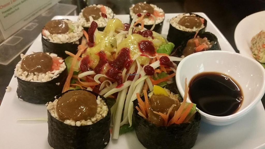 """Photo of Rasayana Raw Food Cafe  by <a href=""""/members/profile/kenvegan"""">kenvegan</a> <br/>Raw sushi rolls <br/> February 15, 2015  - <a href='/contact/abuse/image/3847/93144'>Report</a>"""