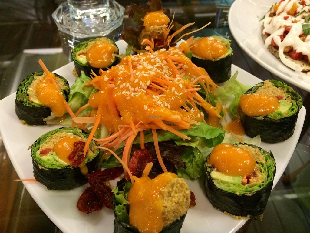 """Photo of Rasayana Raw Food Cafe  by <a href=""""/members/profile/Plantpower"""">Plantpower</a> <br/>raw sushi <br/> March 23, 2015  - <a href='/contact/abuse/image/3847/96616'>Report</a>"""