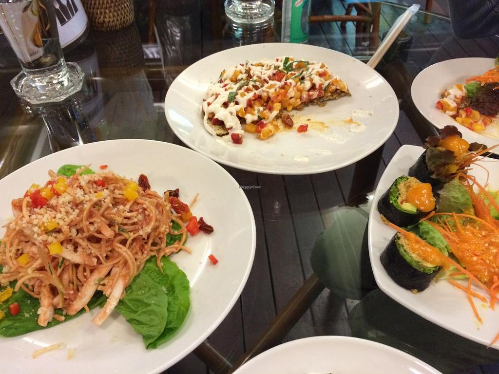 """Photo of Rasayana Raw Food Cafe  by <a href=""""/members/profile/Plantpower"""">Plantpower</a> <br/>raw pad thai, pizza and sushi <br/> March 23, 2015  - <a href='/contact/abuse/image/3847/96618'>Report</a>"""